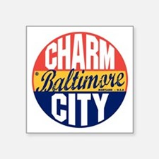 "Baltimore Vintage Label B Square Sticker 3"" x 3"""