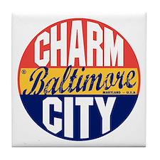 Baltimore Vintage Label B Tile Coaster