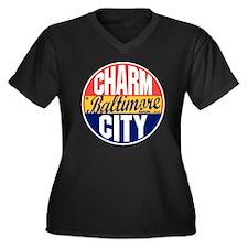 Baltimore Vi Women's Plus Size Dark V-Neck T-Shirt