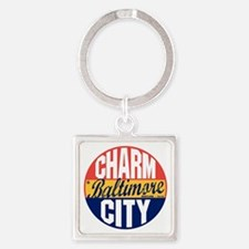 Baltimore Vintage Label B Square Keychain