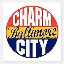 "Baltimore Vintage Label  Square Car Magnet 3"" x 3"""