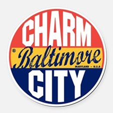 Baltimore Vintage Label B Round Car Magnet