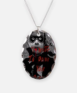 Real Vampire Necklace Oval Charm