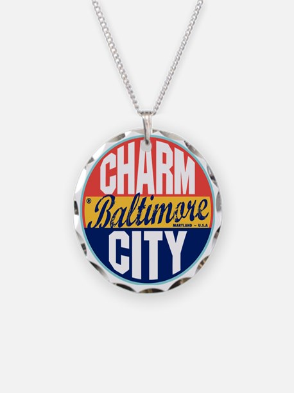 Baltimore Vintage Label W Necklace Circle Charm