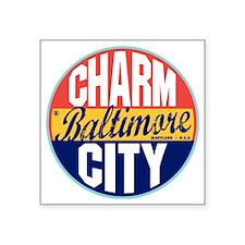 "Baltimore Vintage Label W Square Sticker 3"" x 3"""