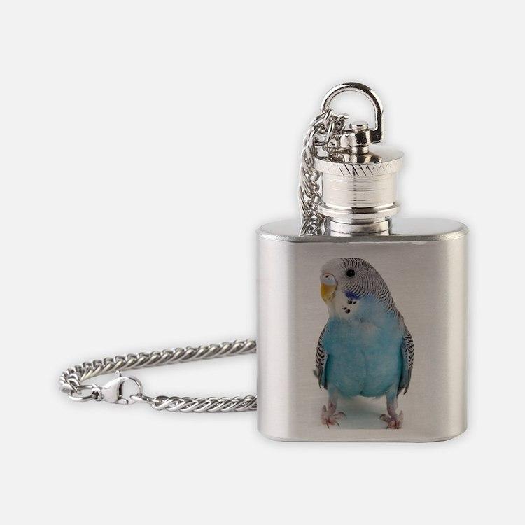 blue parakeet Flask Necklace