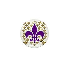Purple and Gold Fleur de lis bling Mini Button