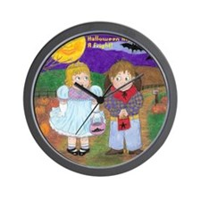Halloween Vintage Drawing With Wording Wall Clock