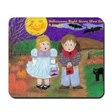 Halloween Vintage Drawing With Wording Mousepad