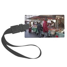 Morning shoppers in an outdoor m Luggage Tag