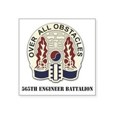 "565th-Engineer-BnwithText Square Sticker 3"" x 3"""