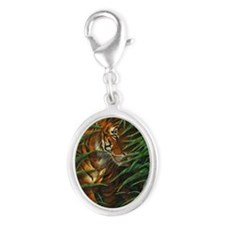 Tiger Stalking (low res) Silver Oval Charm