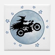 witch-biker-moon-T Tile Coaster