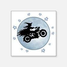 "witch-biker-moon-T Square Sticker 3"" x 3"""