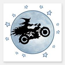 "witch-biker-moon-T Square Car Magnet 3"" x 3"""