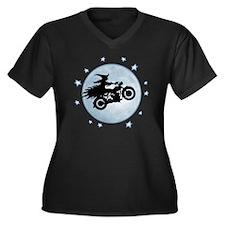 witch-biker- Women's Plus Size Dark V-Neck T-Shirt