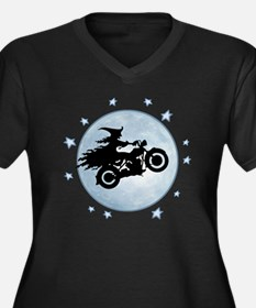 witch-biker- Women's Plus Size Dark V-Neck T-Shirt
