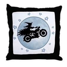 witch-biker-moon-T Throw Pillow