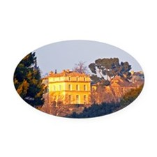 The vineyard and building of Chate Oval Car Magnet