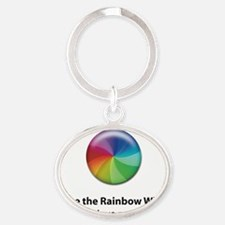 Rainbow Wheel Oval Keychain