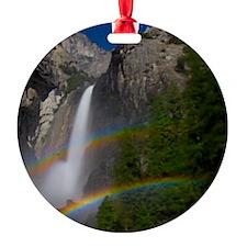 Yosemite Falls double moonbow edite Round Ornament