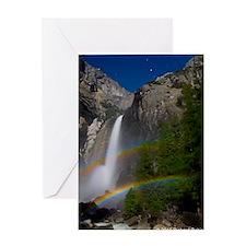 Yosemite Falls double moonbow edited Greeting Card