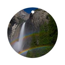 Yosemite Falls double moonbow edite Round Ornament