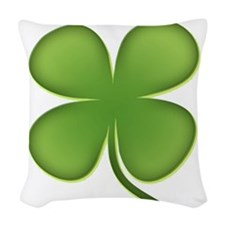7736fourleafclover388 Woven Throw Pillow