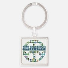 48058625colorfulpeace Square Keychain
