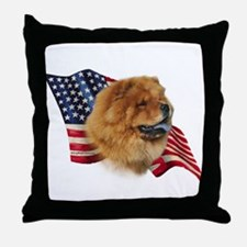 Chow Chow Flag Throw Pillow