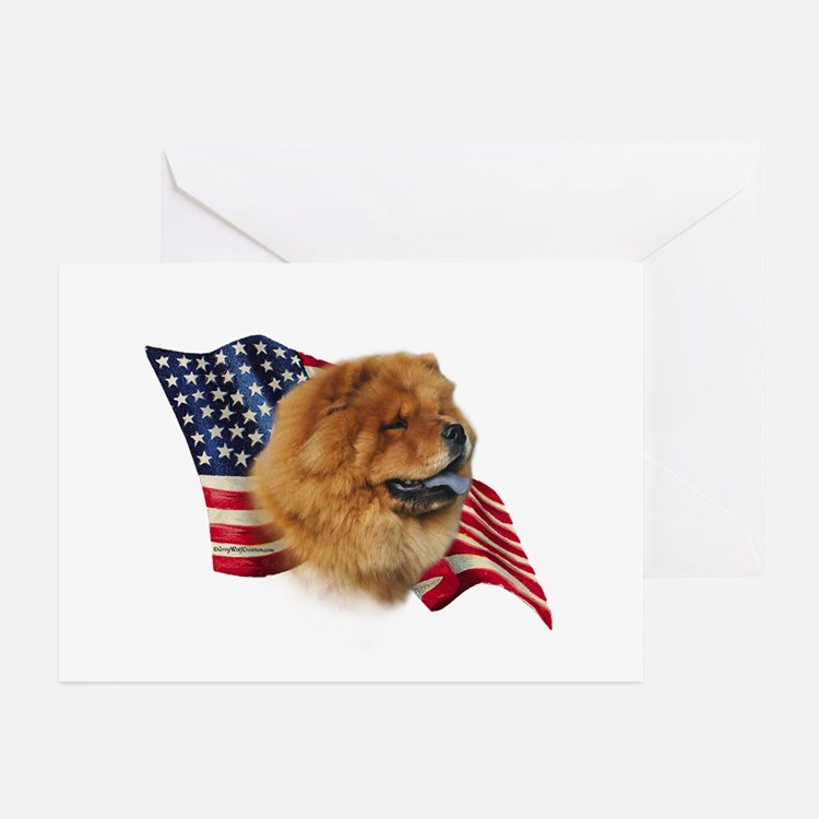 Chow Chow Flag Greeting Cards (Pk of 10)