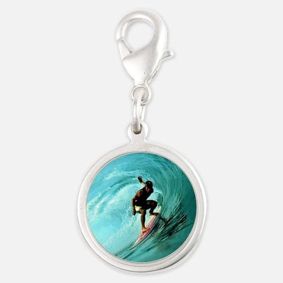 Calender Surfing 2 Silver Round Charm