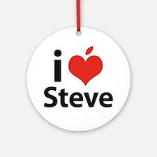i love Steve Round Ornament