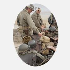Arromanches. Vintage military motorc Oval Ornament