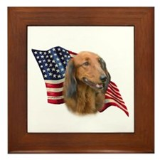 Dachshund Flag Framed Tile