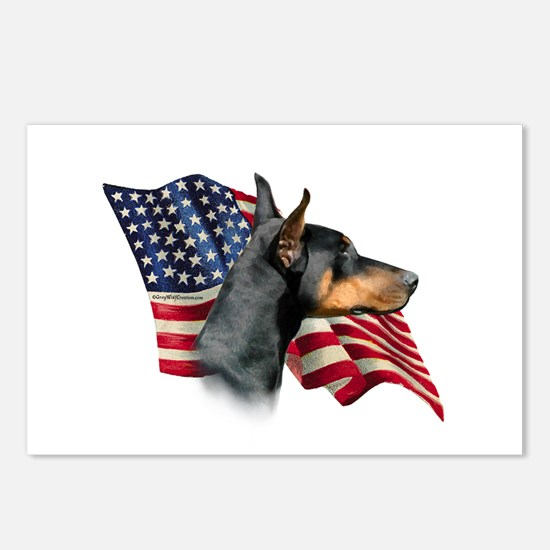 Doberman Flag Postcards (Package of 8)