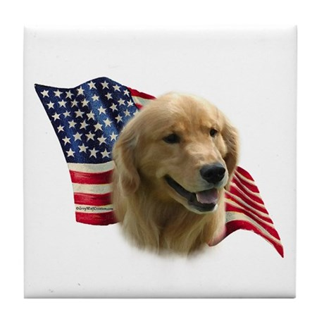 Golden Flag Tile Coaster