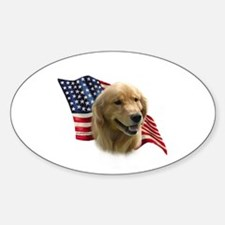 Golden Flag Oval Decal