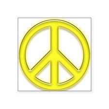 "peaceGlowYellow Square Sticker 3"" x 3"""