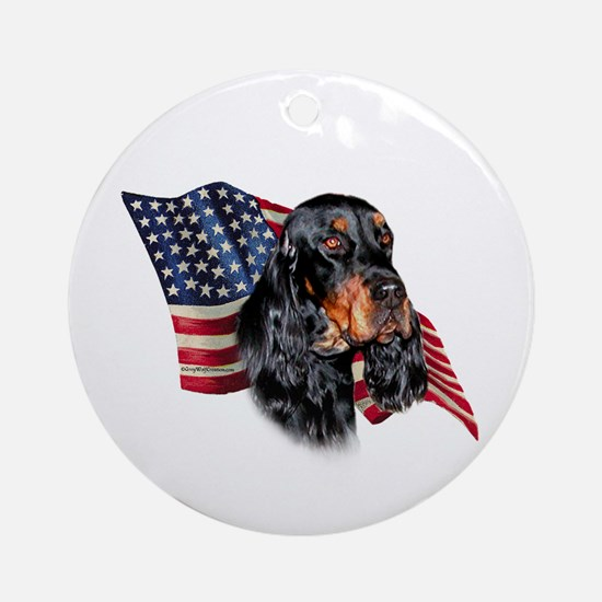 Gordon Setter Flag Ornament (Round)