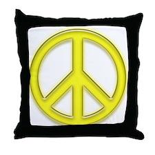 peaceGlowYellow Throw Pillow