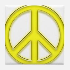 peaceGlowYellow Tile Coaster