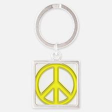 peaceGlowYellow Square Keychain