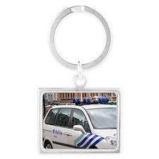 City police vehicle at Bruges i Landscape Keychain
