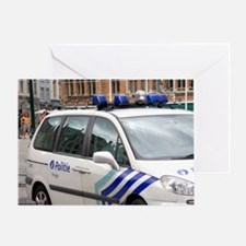 City police vehicle at Bruges in the Greeting Card