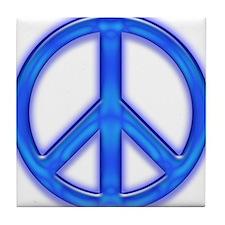 peaceGlowBlue Tile Coaster