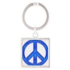peaceGlowBlue Square Keychain