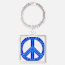 peaceGlowBlue Square Keychain