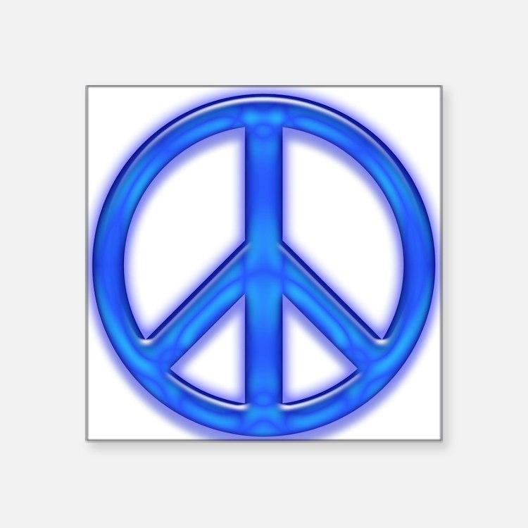 "peaceGlowBlue Square Sticker 3"" x 3"""
