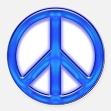peaceGlowBlue Round Car Magnet